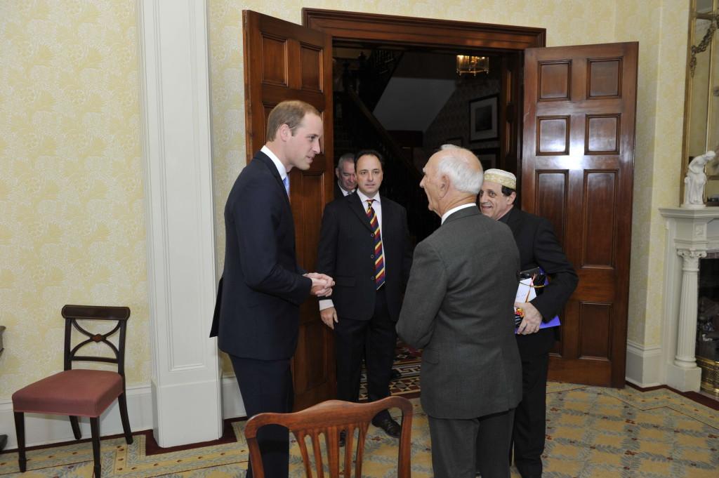 Prince William, a staffer, Matt Busby Andrews, Alf (Uncle Boydie) Turner and Abe Schwarz