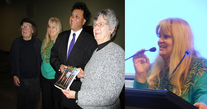 Left-Andrew Steiner, Barbara and Norman Miller and Jenny Hagger Photo – Rhonda Pooley Right-Barbara Launching her books, Photo – Andrew Lothian