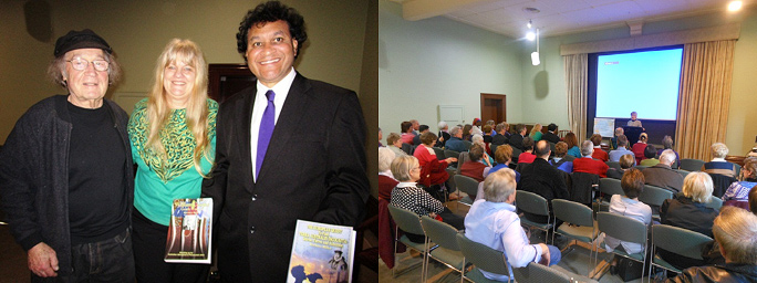 Left Pic-Andrew Steiner, Barbara & Norman Photo – Rhonda Pooley Right Pic-Jenny addressing book launch Photo - Andrew Lothian