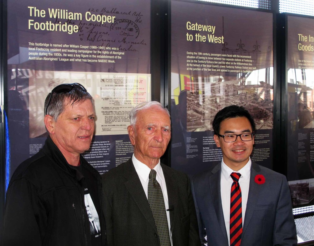 Kevin Russell Alf Turner Footscray Mayor Nam Quach opening Cooper Bridge 2014