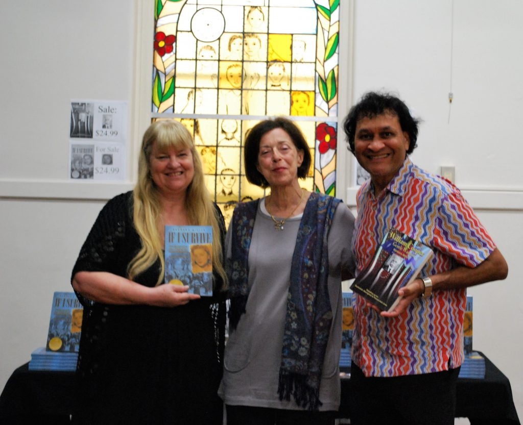 JHC book launch Barbara Viv Parry and Norman holding books at book stand 14.2.19 pic10 (2)